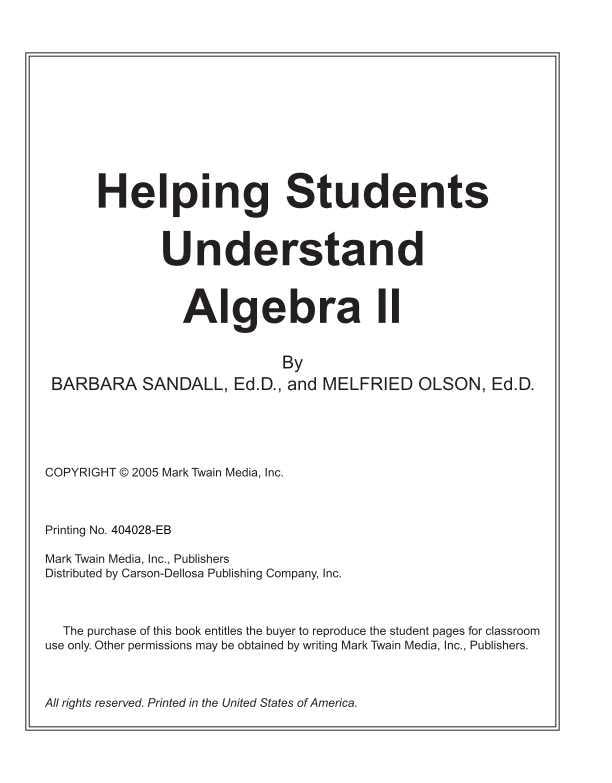 Helping Students Understand Algebra II Resource Book