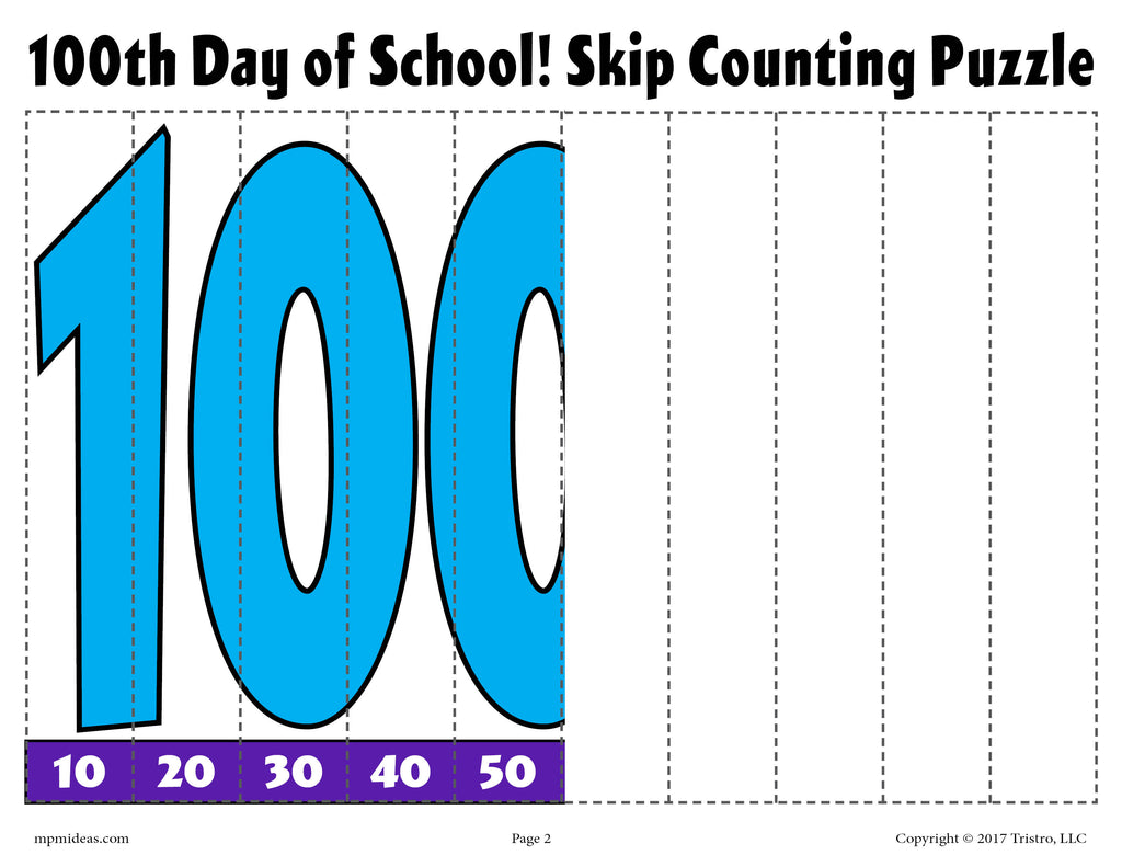 100th Day of School Skip Counting Puzzles! (2 FREE Printable ...