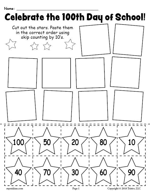 free printable 100th day of school skip counting by 10 39 s worksheet supplyme. Black Bedroom Furniture Sets. Home Design Ideas