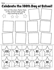 FREE Printable 100th Day of School Skip Counting By 10's Worksheet!