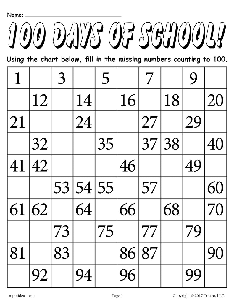 100 days of school free printable counting to 100 worksheet supplyme. Black Bedroom Furniture Sets. Home Design Ideas