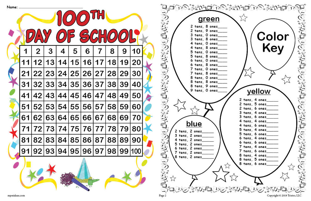 100th Day of School Place Value Mystery Picture Horizontal Version Page 2
