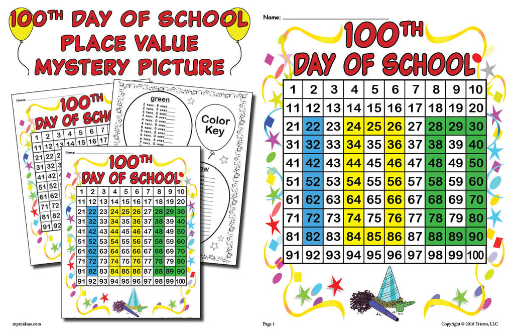 100th Day of School Place Value Mystery Picture Horizontal Version Page 1