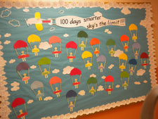 100 Days Smarter, Sky's The Limit! - 100th Day Bulletin Board