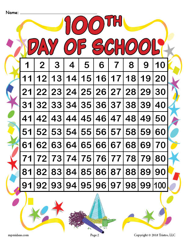 100th Day of School Hundreds Chart
