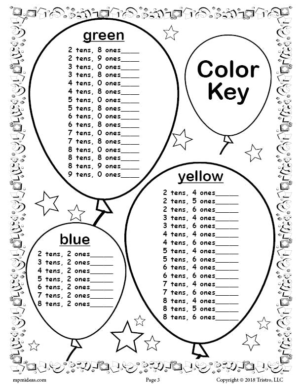 100th Day of School Place Value Mystery Picture Color Key