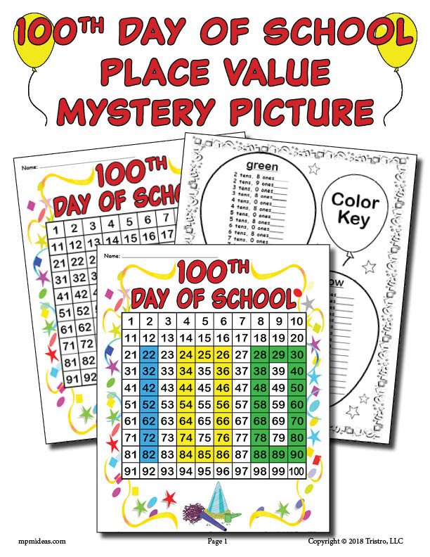 Printable 100th Day of School Place Value Mystery Picture!