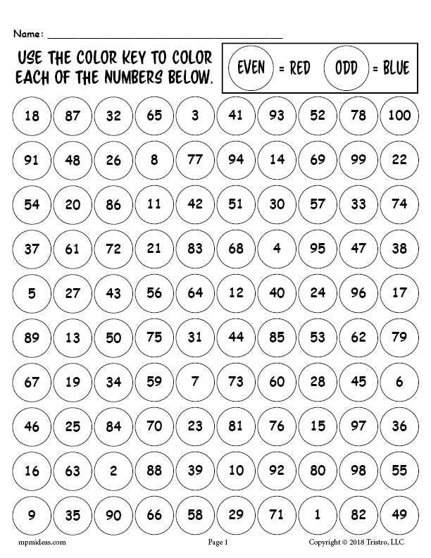 free printable 100th day of school odd and even numbers worksheet co supplyme. Black Bedroom Furniture Sets. Home Design Ideas