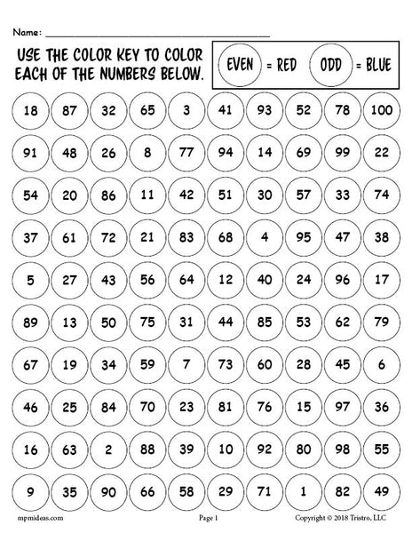 FREE Printable 100th Day of School Odd and Even Numbers