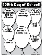 FREE Printable 100th Day of School Writing Activity