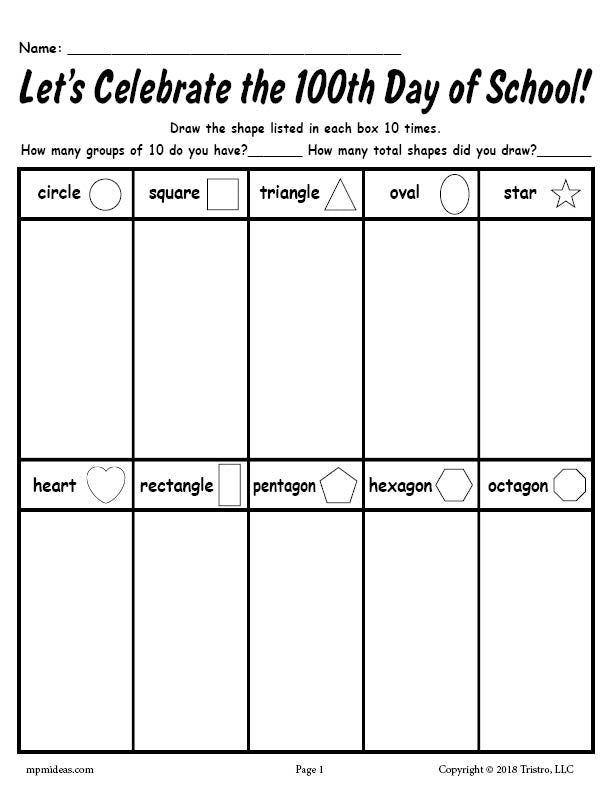 graphic about Printable Shape Worksheet named No cost Printable 100th Working day of College or university Designs Worksheet! SupplyMe