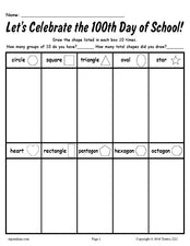 FREE Printable 100th Day of School Shapes Worksheet!