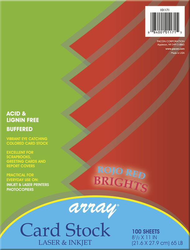 Array® Card Stock, 65#, Rojo Red, 100 Sheets