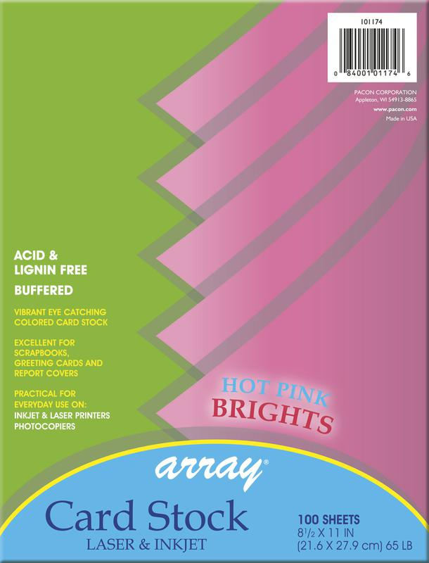 Array® Card Stock, 65#, Hot Pink, 100 Sheets