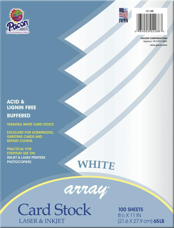 Array® Card Stock, 65#, White, 100 Sheets