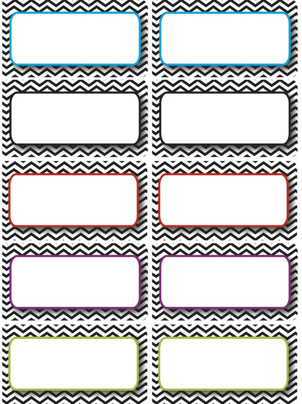 Large Magnetic Labels, Black & White Chevron