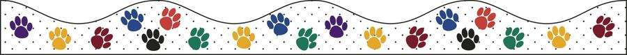 Color Paw Prints Magnetic Border