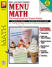 Remedia Publications Real Life Math Series: Menu Math Old Fashioned Ice Cream Parlor Addition & Subtraction Activity Book