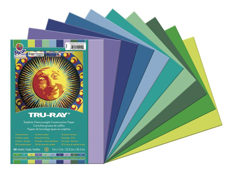 "Tru-Ray® Construction Paper, 9"" x 12"" Cool Assortment"
