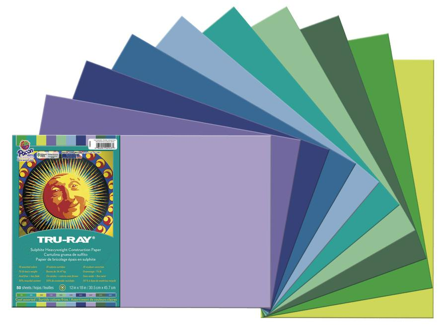 "Tru-Ray® Construction Paper, 12"" x 18"" Cool Assortment"