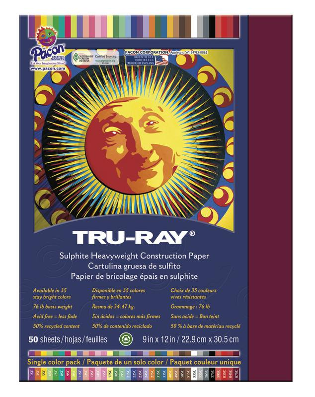 "Tru-Ray® Construction Paper, 9"" x 12"" Burgundy"