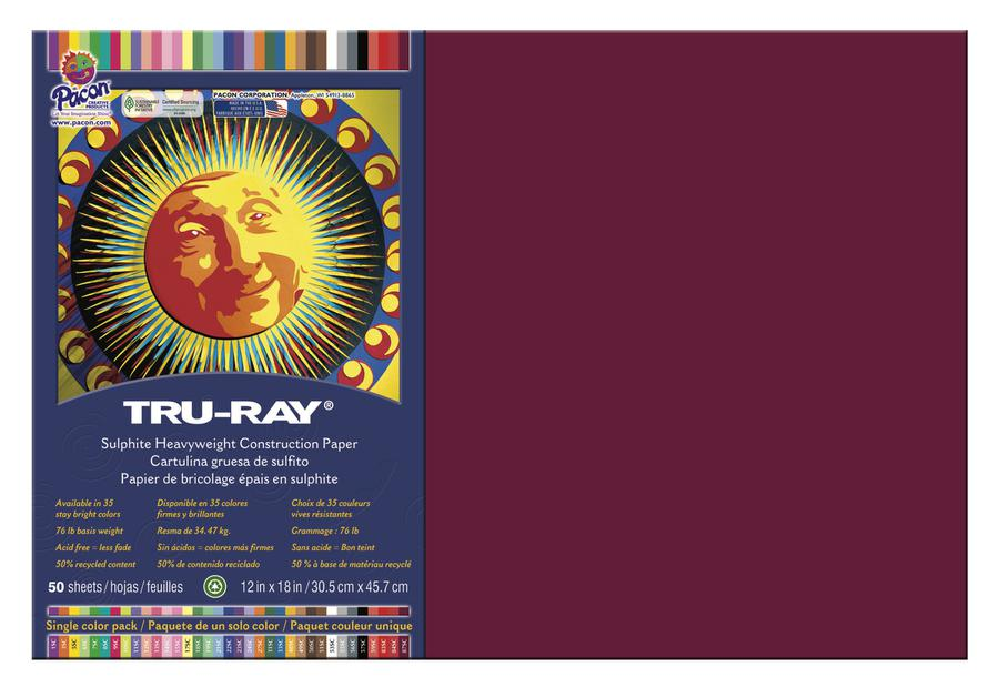"Tru-Ray® Construction Paper, 12"" x 18"" Burgundy"
