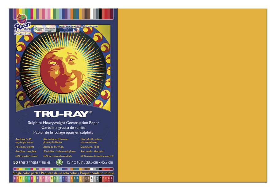 "Tru-Ray® Construction Paper, 12"" x 18"" Gold"