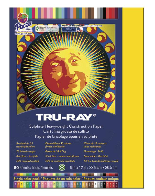 "Tru-Ray® Construction Paper, 9"" x 12"" Yellow"