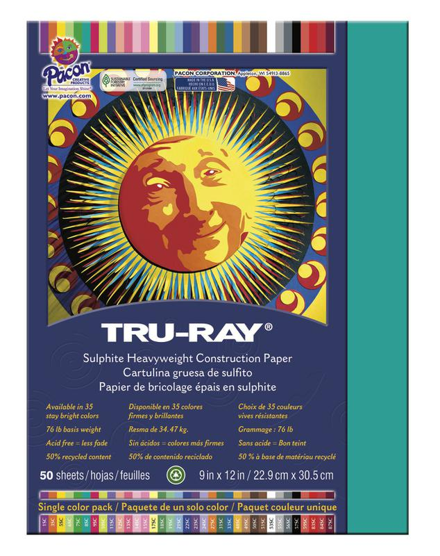 "Tru-Ray® Construction Paper, 9"" x 12"" Turquoise"