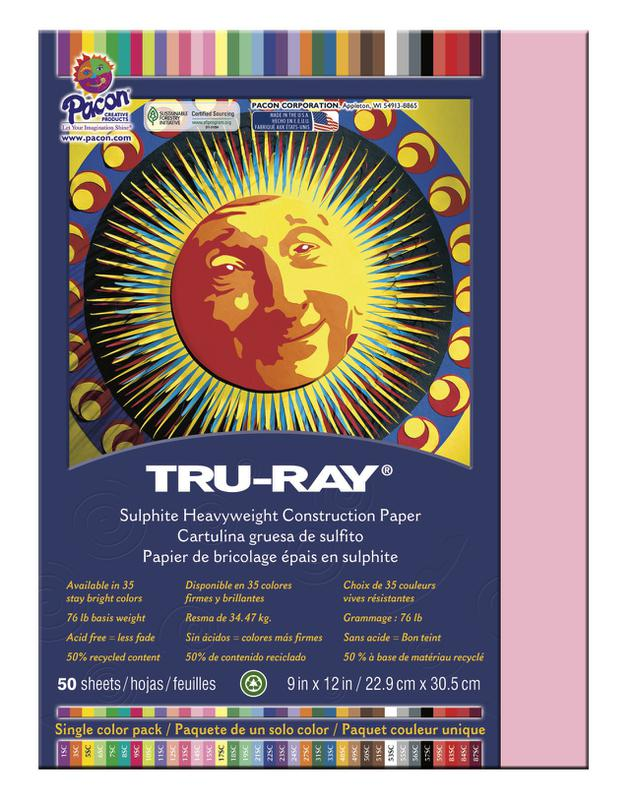 "Tru-Ray® Construction Paper, 9"" x 12"" Pink"