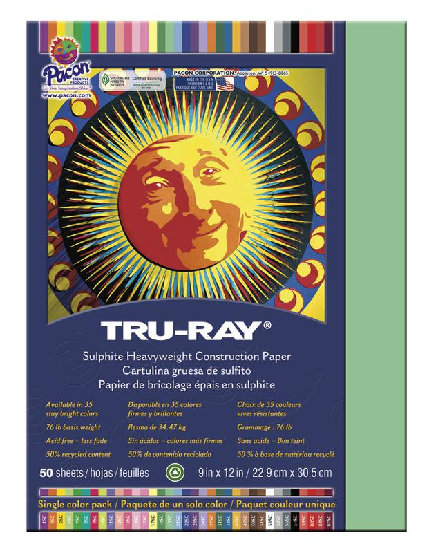 "Tru-Ray® Construction Paper, 9"" x 12"" Light Green"