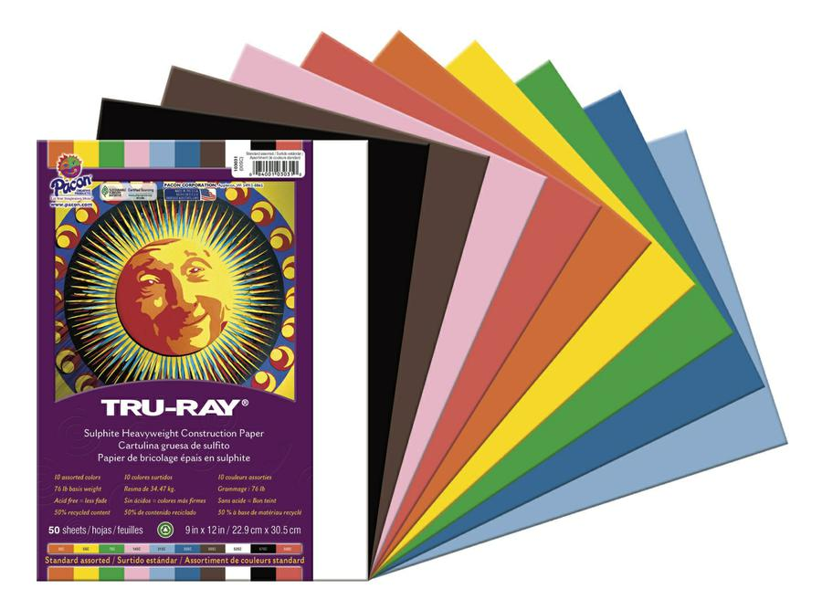 "Tru-Ray® Construction Paper, 9"" x 12"" Assorted"