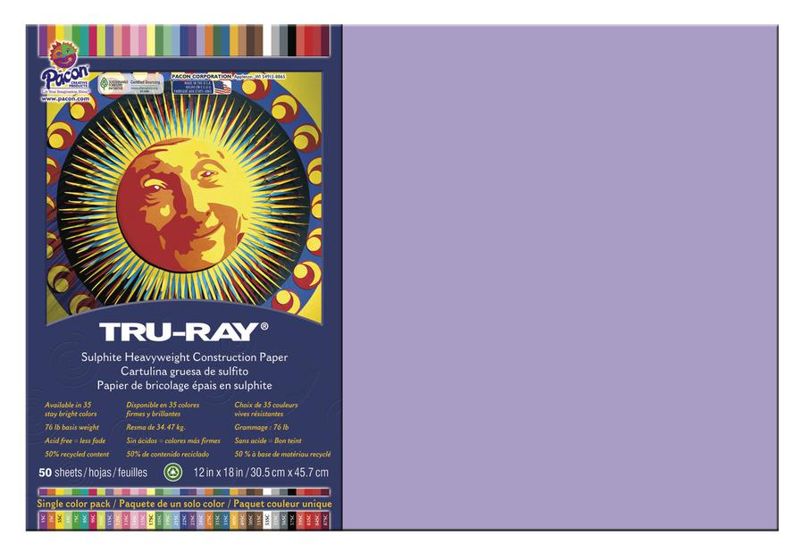 "Tru-Ray® Construction Paper, 12"" x 18"" Lilac"