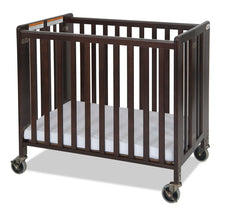 HideAway™ Compact Fixed-Side Wood Folding Crib, Antique Cherry