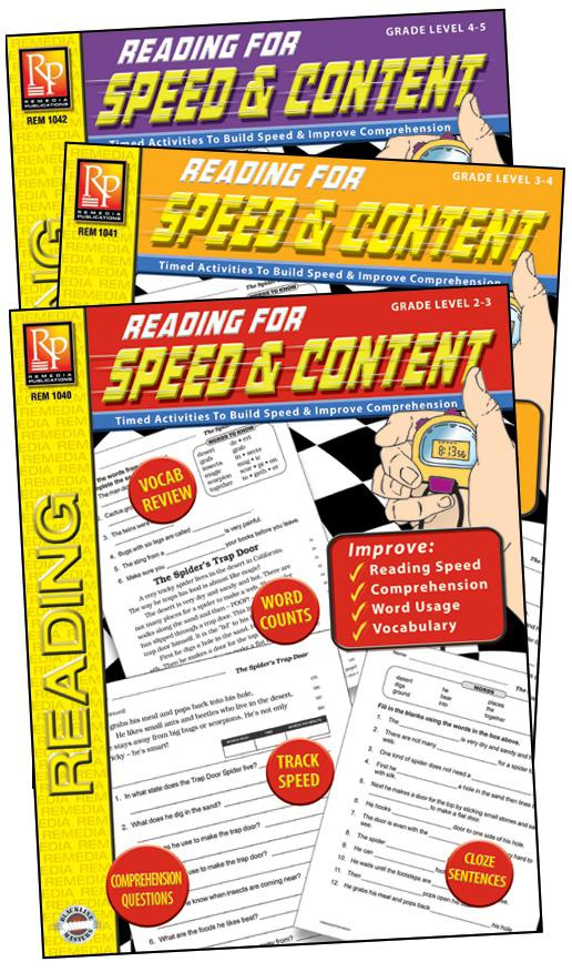 Remedia Publications Reading For Speed & Content Activity Books, 3 Book Set
