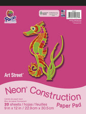 "Art Street Neon Construction Paper Pad, 9"" x 12"", 20 Sheets Assorted"