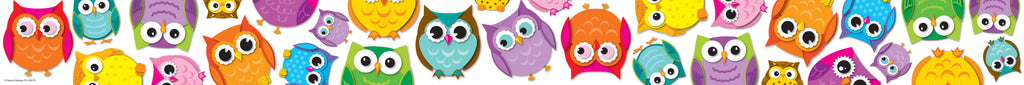 Colorful Owls Straight Borders