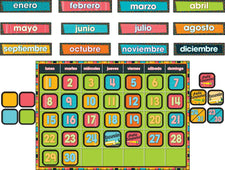 Stylin' Stripes Spanish Calendar Bulletin Board Set