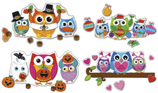 Carson Dellosa Celebrate with Colorful Owls Bulletin Board Set