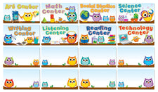 Colorful Owls Center Signs Bulletin Board Set