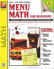 Remedia Publications Real Life Math Series: Menu Math For Beginners Activity Book