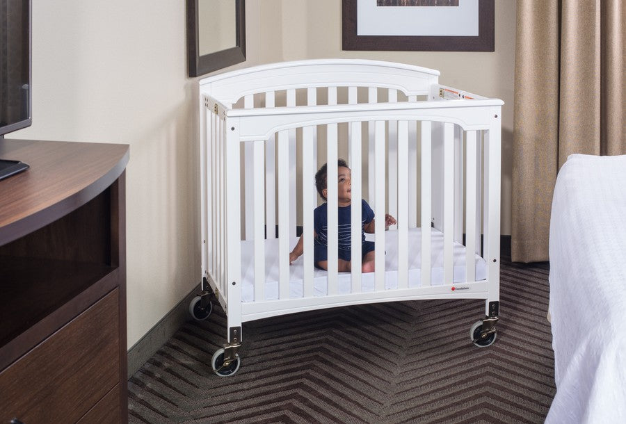 Royale™ Compact EasyRoll™ Fixed-Side Wood Folding Crib, Ever White