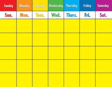 Colorful Calendar Chart, Laminated
