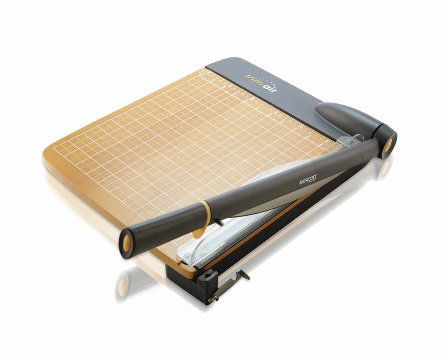 Westcott TrimAir Titanium Wood Guillotine Paper Trimmer with Microban Protection, 18""