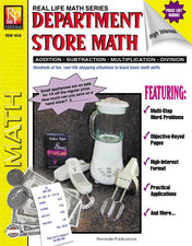 Remedia Publications Real Life Math Series: Department Store Math Activity Book