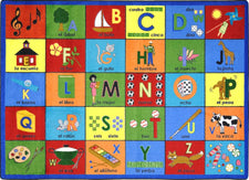 "Bilingual Phonics© Classroom Rug, 5'4"" x 7'8"" Rectangle"