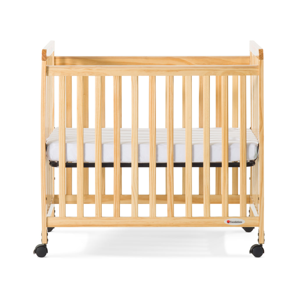 Foundations® SafetyCraft® Compact Fixed-Side Crib, Slatted, Natural
