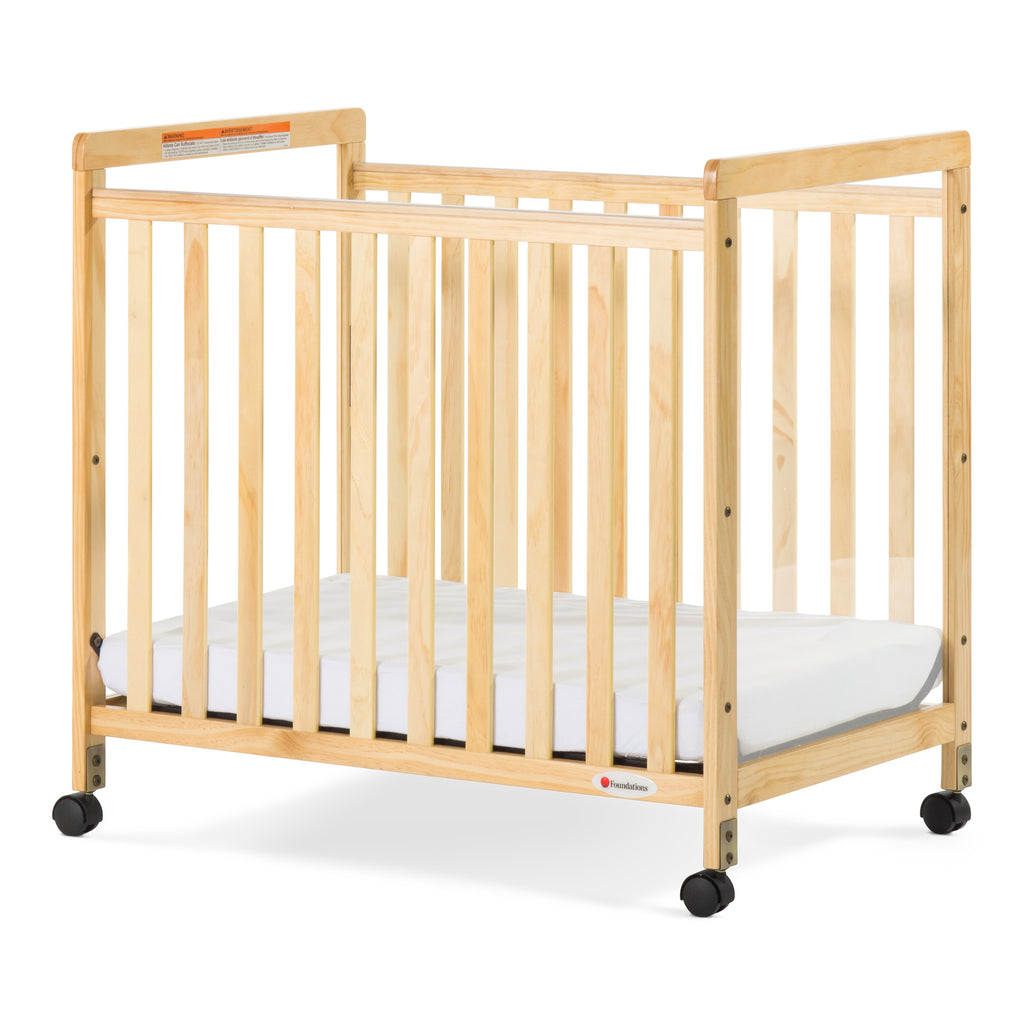 Foundations® SafetyCraft® Compact Fixed-Side Crib, Clearview, Natural