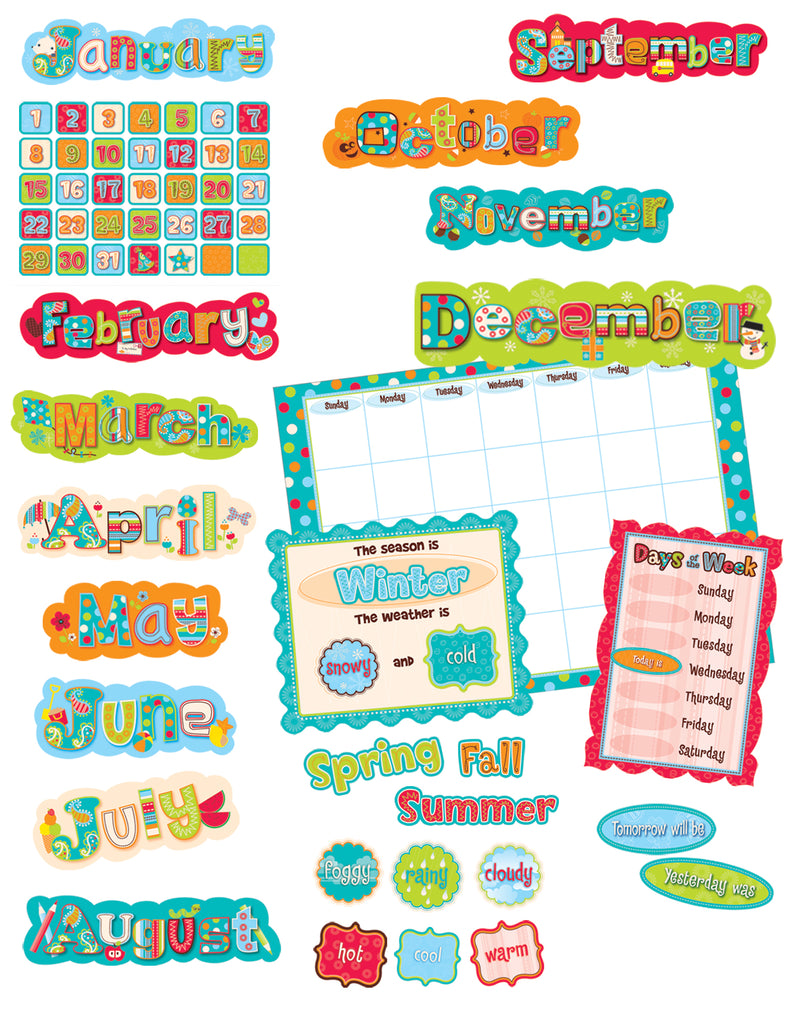 Dots On Turquoise Calendar Bulletin Board Set