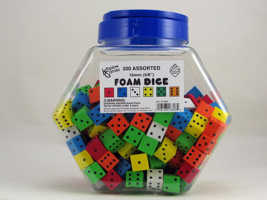 16mm Foam Dice Tub Of 200 Assorted Color Spot